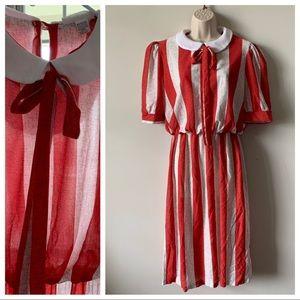 Vintage 60s 70s sheer pussy bow secretary dress